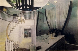 Two panel photo of main hallway with a large flower pot at the base of the ascending curved staircase's railing post. A chandelier hangs above the front entrance.
