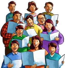 Cartoon drawing of 11 people holding sheet music while singing at choir practice.
